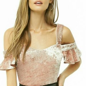 Velvet Cold Shoulder Top